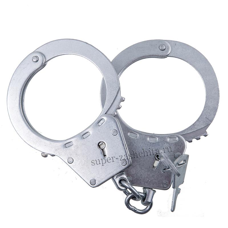 Настоящие полицейские наручники «БРС-2» оцинкованные (с фиксатором) + ключ